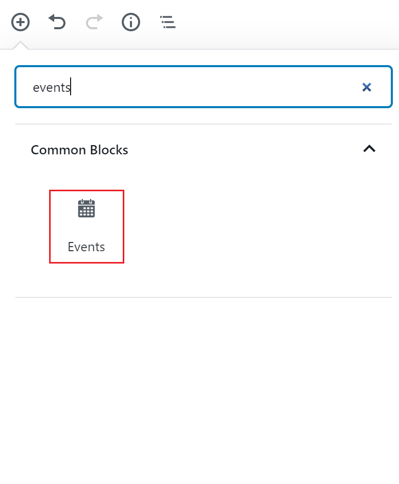 Events block icon.